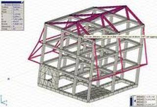 Modellazione di un fabbricato a struttura mista. Primo modo di vibrare